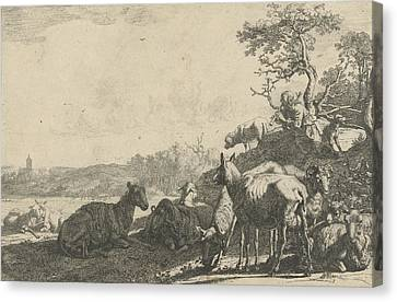 Shepherd With Dog On A Hill, Playing On A Flute Canvas Print by Artokoloro