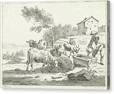 Shepherd With His Flock, Jan Matthias Cok Canvas Print by Jan Matthias Cok