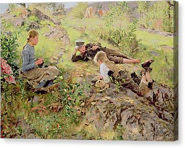 Shepherds Canvas Print by Erik Theodor Werenskiold