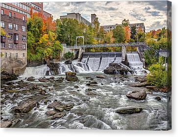 Riviere Canvas Print - Sherbrooke Magog River Dam by Pierre Leclerc Photography