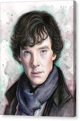 Sherlock Holmes Portrait Benedict Cumberbatch Canvas Print by Olga Shvartsur