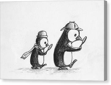 Sherlock Penguin Detective Agency Canvas Print by Devin Hermanson