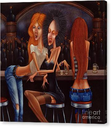 Blonde Canvas Print - Sherry Chambord And Cognac -  Girls Night Out 1998 by Larry Preston