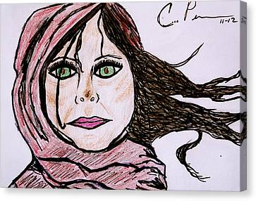 Canvas Print featuring the drawing She's Like The Wind by Chrissy  Pena