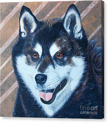 Canvas Print featuring the painting Shiba Inu by PainterArtist FINs husband Maestro