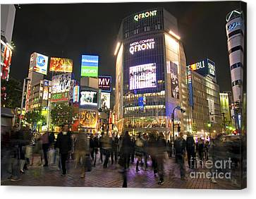 Shibuya Crossing At Night Tokyo Japan  Canvas Print