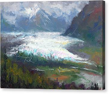 Shifting Light - Matanuska Glacier Canvas Print by Talya Johnson
