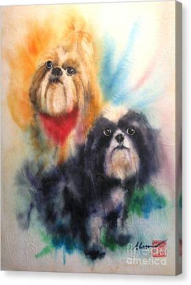 Shihtsu Canvas Print - Shih Tsu Siblings by Alan Goldbarg