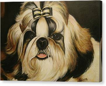 Canvas Print featuring the painting Shih Tzu Puppy Portrait #2 by Melinda Saminski