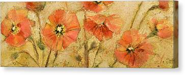 Orange Poppies Canvas Print - Shimmering Poppies by Jen Norton