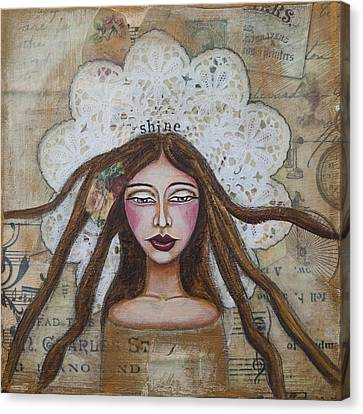 Shine Inspirational Mixed Media Folk Art Canvas Print by Stanka Vukelic