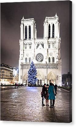 Shining Star - Notre Dame De Paris At Night Canvas Print by Mark E Tisdale
