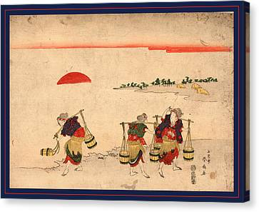 Shiokumi, Salt Gathering. 181-, 1 Print  Woodcut Canvas Print by Katsukawa Shunsen (1762-1830), Japanese