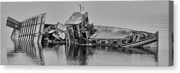 Canvas Print featuring the photograph Ship Aground by Timothy Latta