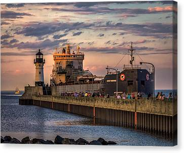 Duluth Canal Park Canal Park Lighthouse Lighthouse Lake Superior Minnesota Canvas Print - Ship Ahoy by Mary Amerman