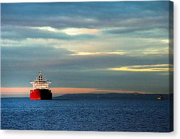 Water Vessels Canvas Print - Ship - Anchored On The Edge Of Light by Gary Heller