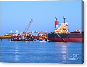 Ship And Port At Twilight Canvas Print