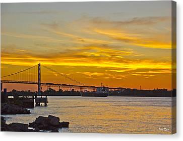 Ship Approaches Ambassador Bridge At Sunset Canvas Print