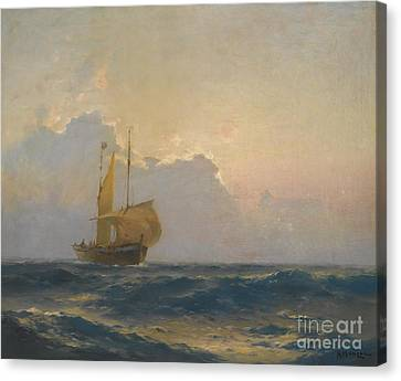 Ship At Dusk Canvas Print by Celestial Images