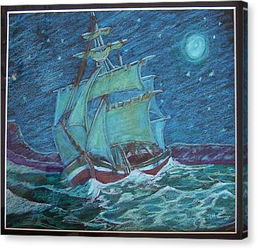 Canvas Print featuring the drawing Ship At Sea by Joseph Hawkins