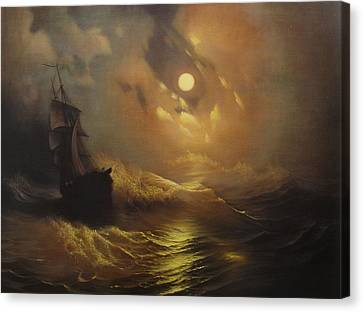 Ship At Sea Canvas Print by Rembrandt
