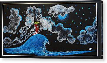 Ship Big Wave Canvas Print by Joseph Hawkins