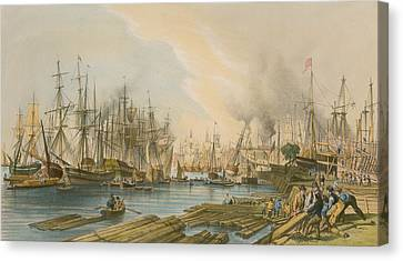 Ship Building At Limehouse Canvas Print by William Parrot
