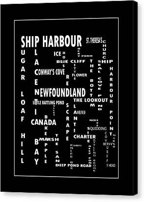 Ship Harbour Newfoundland Landmarks Crossword Art Canvas Print by Barbara Griffin