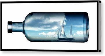 Canvas Print featuring the digital art Ship In Bottle... by Tim Fillingim