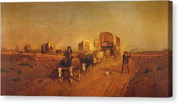 Ship Of The Plains Covered Wagons Canvas Print by Samuel Colman