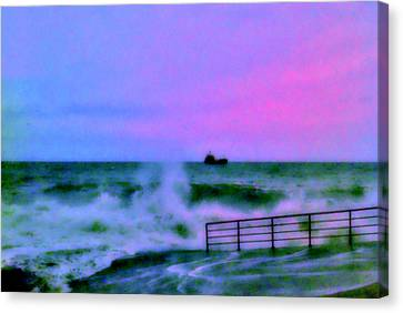 Ship On Rough Sea's  Canvas Print by Rick Todaro