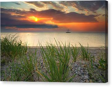 Ship Passing Through Canvas Print by Darylann Leonard Photography