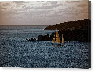 Ship Sailing At Dawn Canvas Print