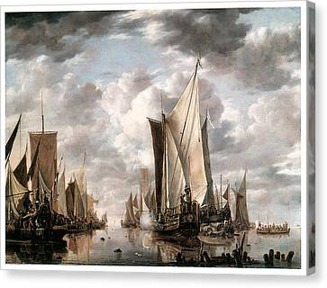 Shipping In A Calm At Flushing Wiht A States General Yacht Firing A Salute Canvas Print by Jan van de Cappelle