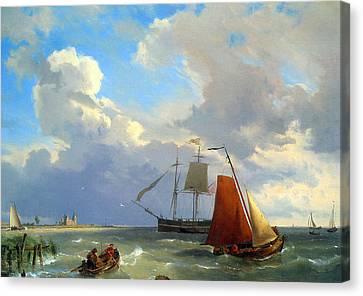 Row Boat Canvas Print - Shipping In A Choppy Estuary by Hermanus Koekkoek