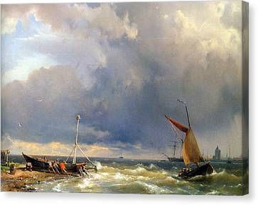 Shipping In A Stiff Breeze Canvas Print by Hermanus Koekkoek