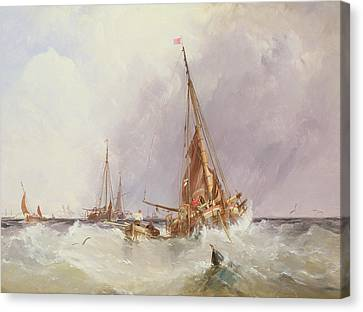 Shipping In The Solent 19th Century Canvas Print by George the Elder Chambers
