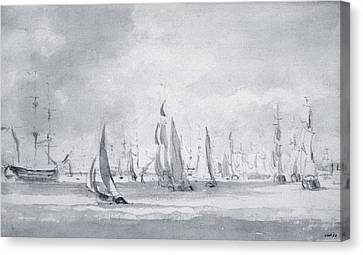 Yachts Canvas Print - Shipping In The Thames by John Constable