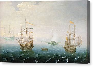 Shipping On Stormy Seas Canvas Print by Aert van Antum