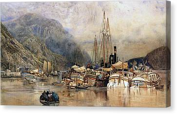 Shipping On The Hudson River Canvas Print by Samuel Colman