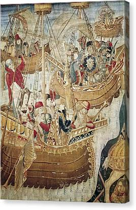 Ships 15th C.. Gothic Art. Tapestry Canvas Print by Everett