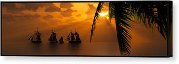 Ships And The Golden Dawn... Canvas Print by Tim Fillingim
