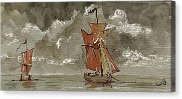 Ships At Sea Canvas Print by Juan  Bosco