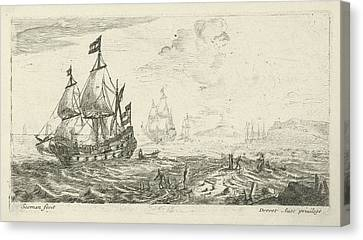 Ships Before Coast, Print Maker Anonymous Canvas Print by Anonymous And Reinier Nooms And Pierre Drevet