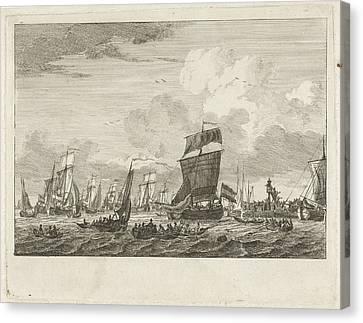 Ships Heading In Vlaardingen, The Netherlands Canvas Print