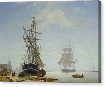 Ships In A Dutch Estuary Canvas Print by WA Van Deventer