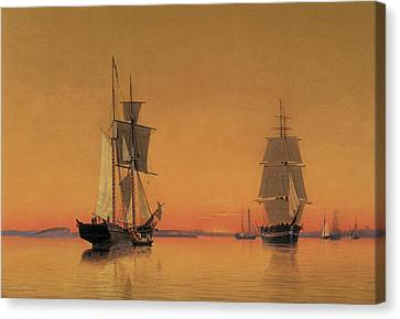 Ships In The Boston Harbor At Twilight Canvas Print by William Bradford