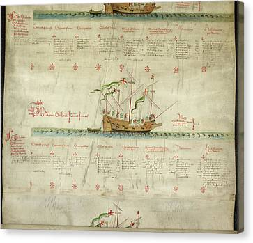 Ships In The King's Navy Fleet From 1547 Canvas Print
