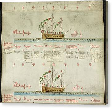 Ships In The King's Navy Fleet From 1548 Canvas Print