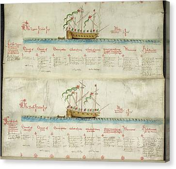 Ships In The King's Navy Fleet From 1550 Canvas Print